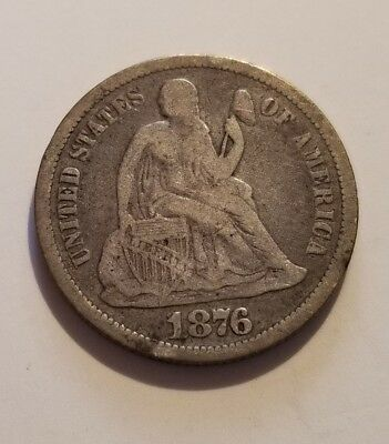 Circulated 1876-CC Seated Liberty Silver Dime Grading Very Fine C798