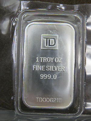 1 oz Silver Bar TD 1 troy oz Fine Silver 999.0 Single Logo Variation TD Bank