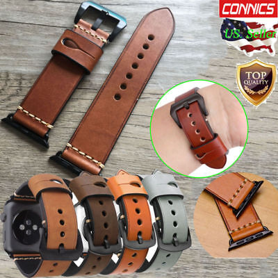 Mens Genuine Leather Wrist iWatch Band Strap For Apple Watch Series 5 4 44/40MM