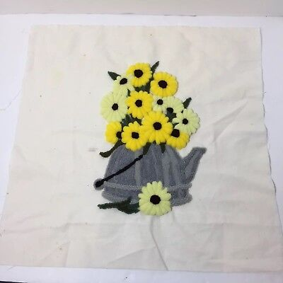 "Daisies in Tea Kettle Finished Needle Punch Embroidery Pretty 17"" Square"