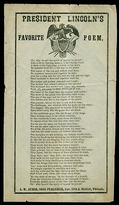 1860's President Lincoln's Favorite Poem Song Sheet - A.W. Auner,Song Publisher