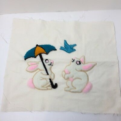"Bunnies with Umbrella Bird Finished Needle Punch Embroidery Pretty 17.5"" x 14.5"""