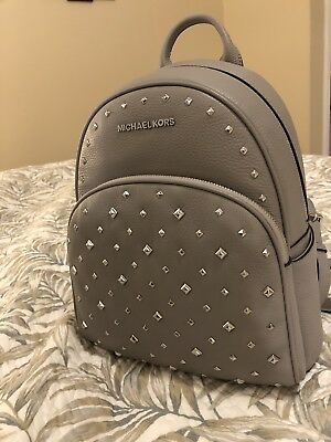 NWT MICHAEL KORS ABBEY MEDIUM STUDDED Backpack In ASH GREY Pebbled Leather $398