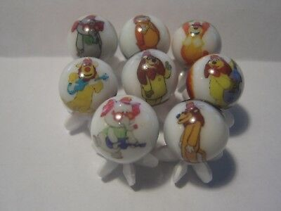 Banana Splits Hanna Barbera Glass Marbles 5/8 Size with stands