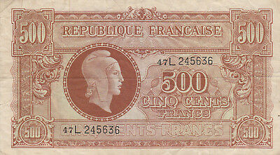1944 France 500 Cents Francs note, P-106, circulated