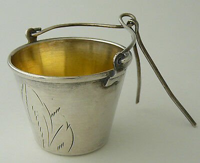 Russian Soviet Era Sterling 875 Silver Bucket Shaped Engraved Tea Strainer