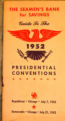 Seaman's Bank For Savings Bklet For 1952 Presidential Convention In Chicago/rare