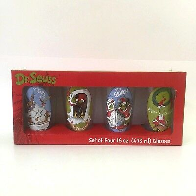 Dr. Seuss How the Grinch Stole Christmas Set of 4 Drinking Glasses 16 oz in Box