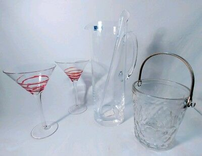 Retro Martini Bar Set Bundle! NEW Waterford Crystal Pitcher PLUS 3 bonus items!
