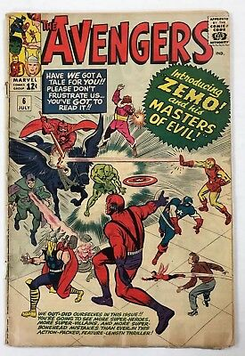 Avengers #6 Marvel 1964 1st full app Baron Zemo! 1st app of 2nd Black Knight!