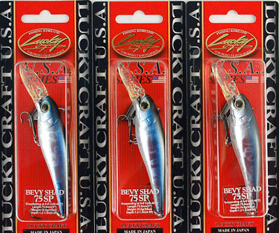 (Lot Of 3) Lucky Craft Bevy Shad 75Sp 3/8Oz Bevyshad75Sp-052 Aurora Black (A2)