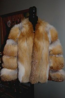 Genuine Real Small Medium Red Fox Fur & Sueded Leather Coat Jacket Unique