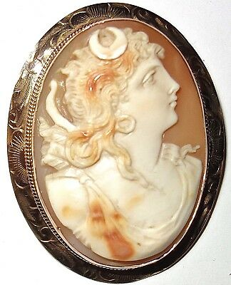 """HUGE and MAGNIFICENT Antique 14K GOLD 2-1/8"""" HAND CARVED SHELL CAMEO PIN BROOCH!"""
