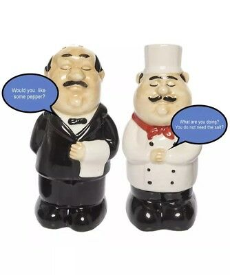 Funny Talking Chef & Waiter Salt-And-Pepper Shakers Set Novelty BIGMOUTH INC.