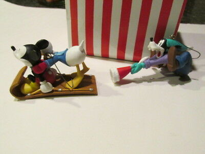 2 pc Disney Store Vintage Classic Mickey Mouse, Donald, Goofy Christmas Ornament
