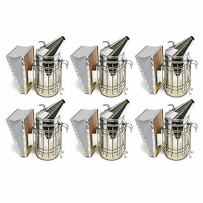 Set of 6 Bee Hive Smoker Stainless Steel w. Heat Shield Beekeeping Equipment sw