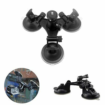 For Camera GoPro Hero 5 4 3+ 2 1 Triple Low Angle Suction Cup Mount  Car Holder