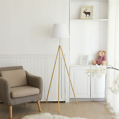 Easel Floor Lamp Tripod Lamp Metal Construction with White Fabric Shade