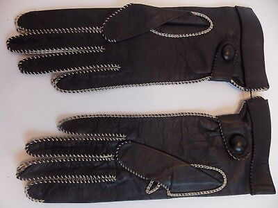 """New Vintage  Fownes Black Leather Gloves White Stitiching  6 1/2"""" Usa"""