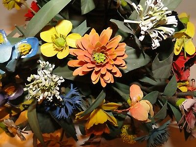"""Painted TOLEWARE Bendable Dainty METAL FLOWERS Stems BOUQUET ~Exquisite~ 7"""" Tall"""