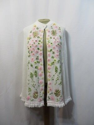 Vintage 60s Poncho Cape Floral Embroidery Acrylic Knit Retro MOD Sweater