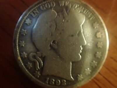 """1892O """"key Date"""" Barber Half Dollar Estate Coin - Good To Very Good"""