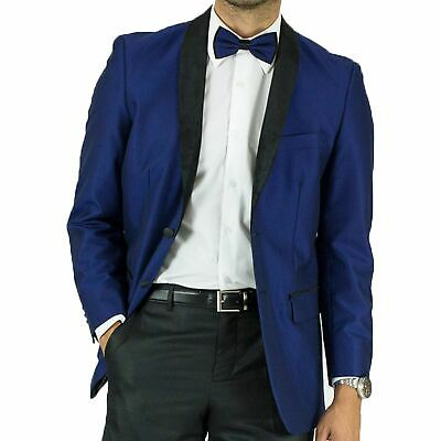 Maenza Men's Royal Blue Muted Jacquard 2 Button Classic Fit Tuxedo Jacket NEW