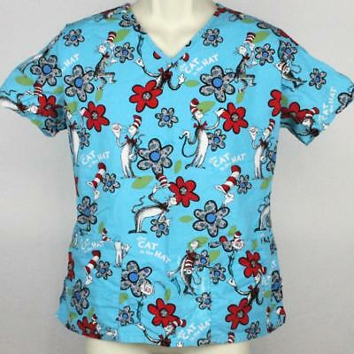 74914286315 The Cat in the Hat Scrubs Top Small Blue w/ Christmas Red Dr Seuss 21.5