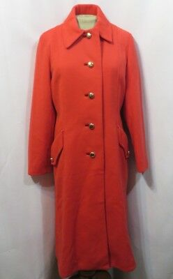 Vintage 70s Coat Button MOD Trench Midi Poppy Red Wool Retro Count Romi
