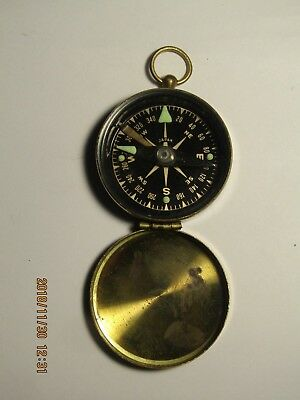 Vintage Japan Compass with gold tone case #140