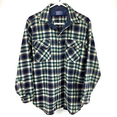 Vintage Pendleton Plaid Check Wool Button Shirt Mens Sz Large Blue Green Red USA