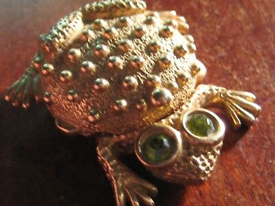 Adorable Vintage Pill Box In Frog Design With Crystal Eyes