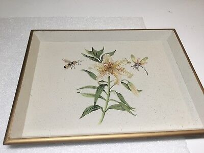 Halcyon Days Wooden Vanity Tray Lily Flower with Bee and Dragonfly Decoration