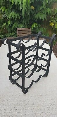Solid wrought iron black 12 bottle wine rack
