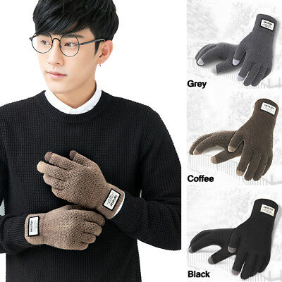 Men Women Full Finger Touch Screen Winter Warm Kint Fleece Lined Thermal Gloves