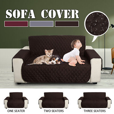 1/2/3 Seater Sofa Anti-Slip Chair Pet Kid Cover Quilted Couch Recliner Protector