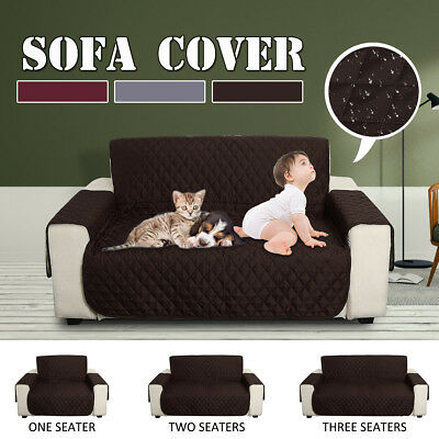 Anti-Slip Quilted Couch Sofa Recliner Chair Pet Kid Protector Cover 1/2/3 Seater