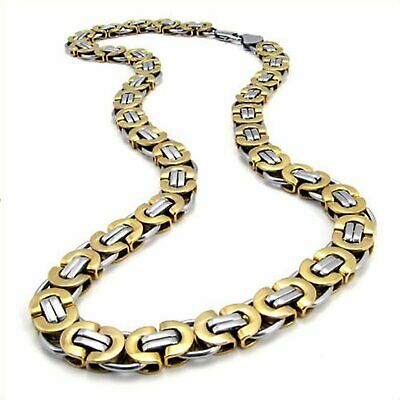 """MENDINO Men's 11mm Flat Byzantine Chain Gold Silver Stainless Steel Necklace 22"""""""