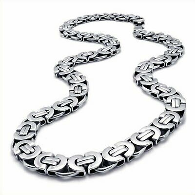 """MENDINO Men's 11mm Flat Byzantine Chain Link Silver Stainless Steel Necklace 22"""""""