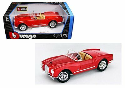 BBURAGO 1:18 1955 LANCIA AURELIA B24 SPIDER Diecast Model Car Red Color