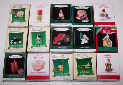 Hallmark Miniature Ornaments - Lot of 15 - All Different -Includes Ruby Slippers
