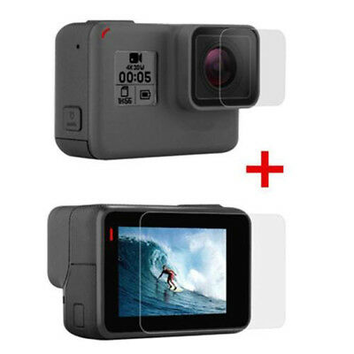 Tempered Glass Screen & Lens Film Camera Protector For GoPro Hero 7 White/Silver