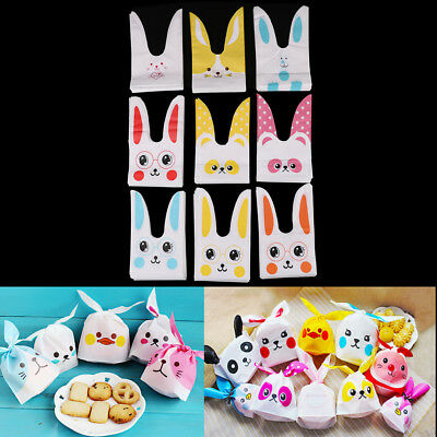 10Pcs Cute Rabbit Ear Bakery Cookie Candy Bags Plastic DIY White Gift Bags M&O