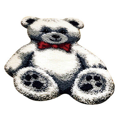 White Bear Latch Hook Rug Kits DIY Needlework Embroidery Cushion Mat Carpet