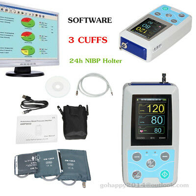 CONTEC 24h NIBP Holter ABPM50 Ambulatory Blood Pressure Monitor Software+3 cuffs