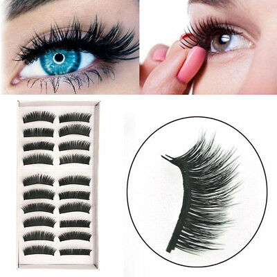 10 Pairs Reusable Self-Adhesive Natural Think Curly False Eyelashes Extension