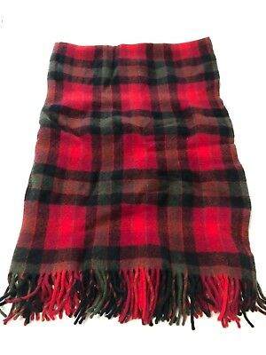 Vintage Pendleton Throw Blanket Red Plaid Fringe 100% Virgin Wool w/ Storage Bag