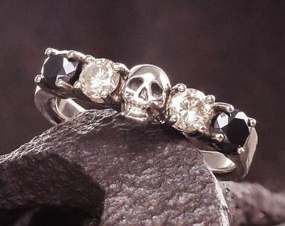 Handsome man 925 Silver White Sapphire Skull Ring Party Wedding Jewelry Sz6-10