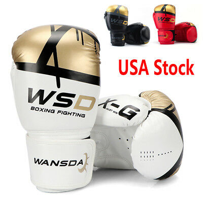 Leather Boxing Gloves Muay Thai Training Punching Bag Sparring Gloves MMA