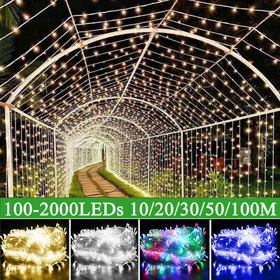 Waterproof LED Fairy String Lights Plug In 10-100M Outdoor Xmas Wedding Party UK